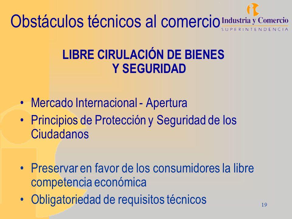 19 Obstáculos técnicos al comercio LIBRE CIRULACIÓN DE BIENES Y SEGURIDAD Mercado Internacional - Apertura Principios de Protección y Seguridad de los