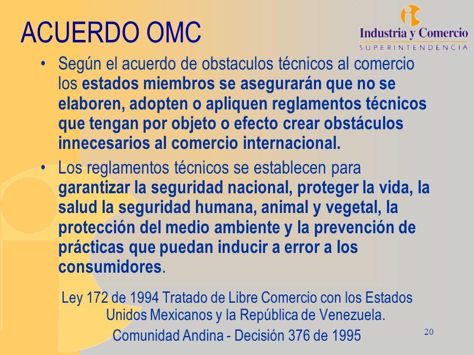20 ACUERDO OMC Según el acuerdo de obstaculos técnicos al comercio los estados miembros se asegurarán que no se elaboren, adopten o apliquen reglament