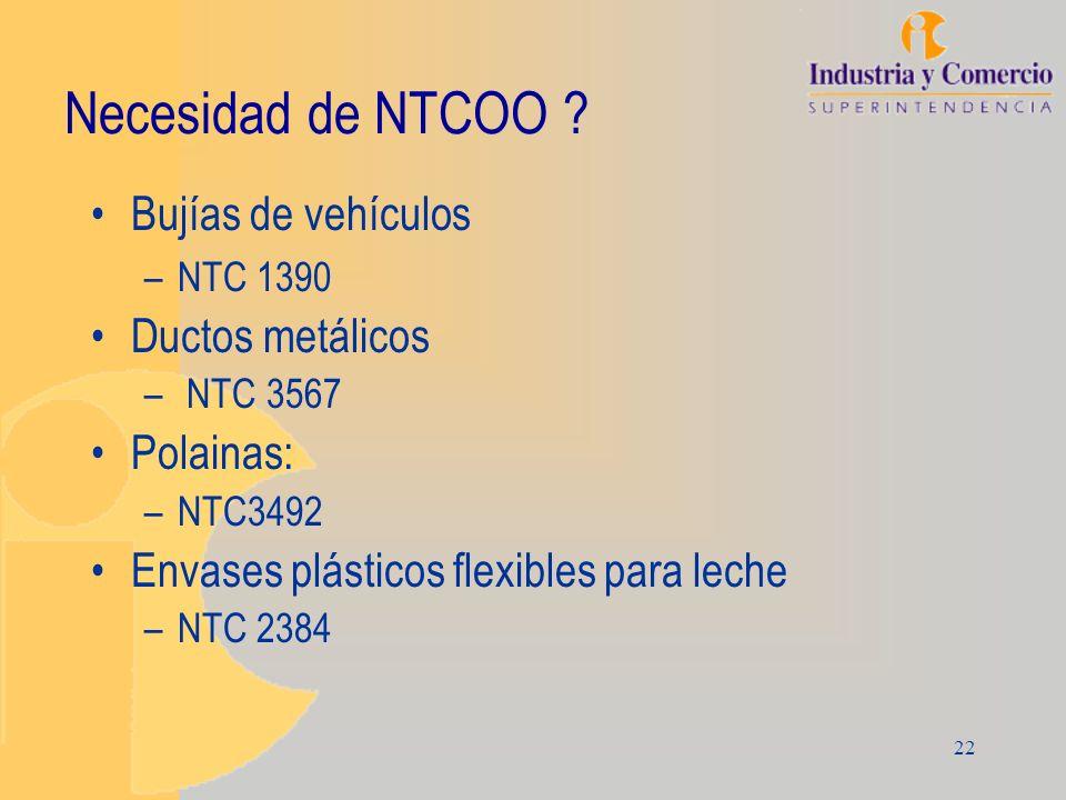 22 Necesidad de NTCOO ? Bujías de vehículos –NTC 1390 Ductos metálicos – NTC 3567 Polainas: –NTC3492 Envases plásticos flexibles para leche –NTC 2384