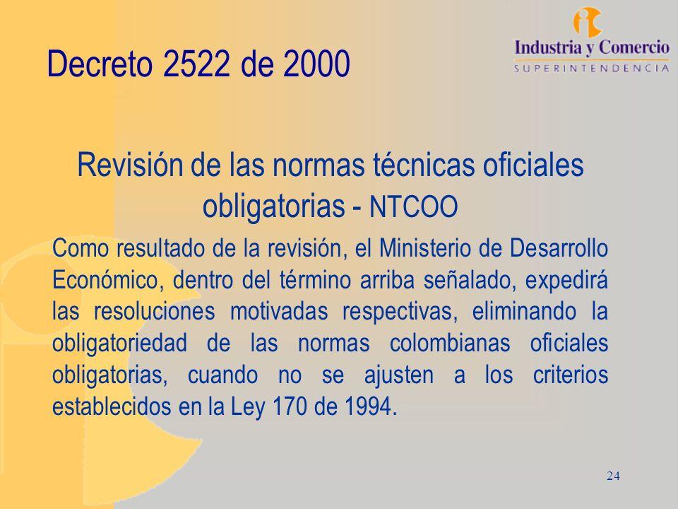 24 Decreto 2522 de 2000 Revisión de las normas técnicas oficiales obligatorias - NTCOO Como resultado de la revisión, el Ministerio de Desarrollo Econ