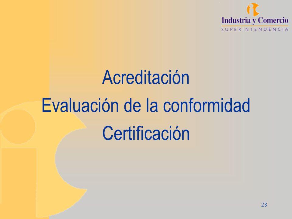 28 Acreditación Evaluación de la conformidad Certificación