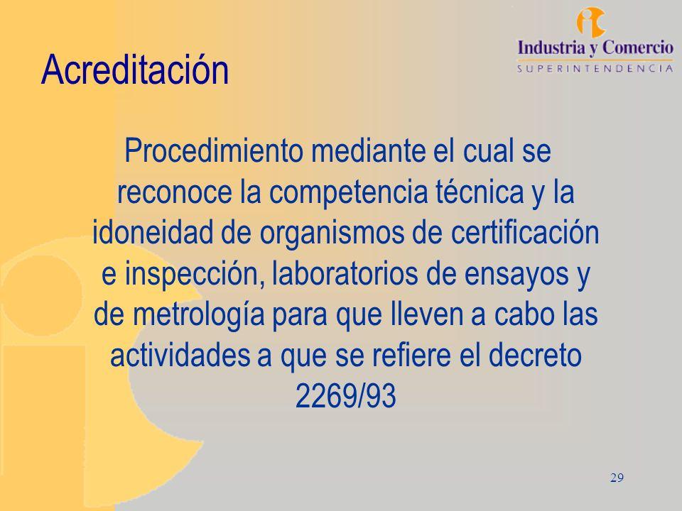 29 Acreditación Procedimiento mediante el cual se reconoce la competencia técnica y la idoneidad de organismos de certificación e inspección, laborato