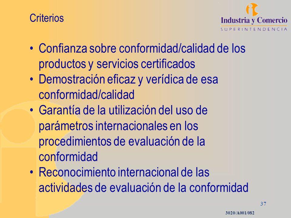 37 Criterios Confianza sobre conformidad/calidad de los productos y servicios certificados Demostración eficaz y verídica de esa conformidad/calidad G