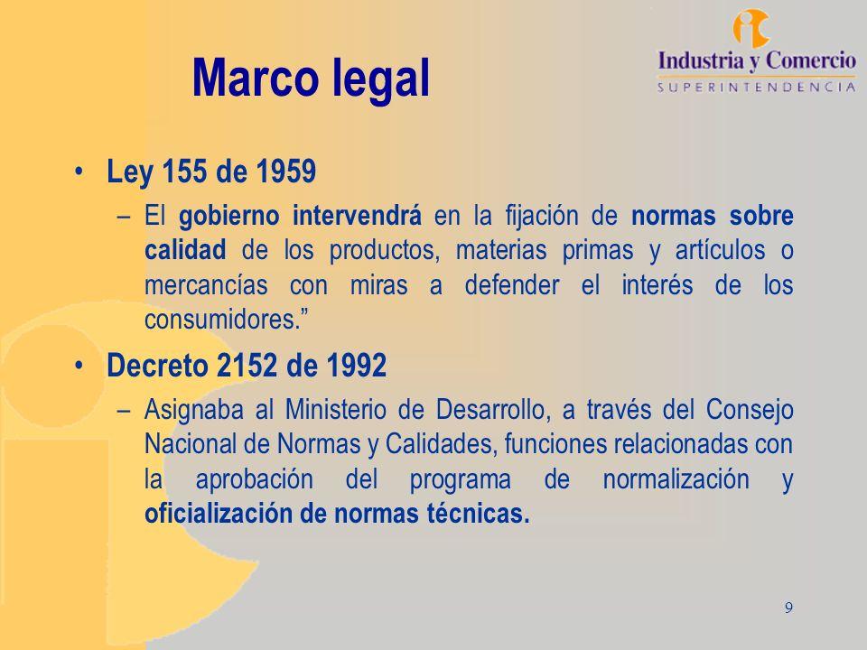 9 Marco legal Ley 155 de 1959 –El gobierno intervendrá en la fijación de normas sobre calidad de los productos, materias primas y artículos o mercancí