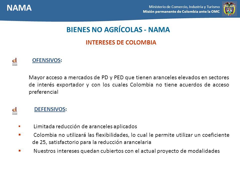 Ministerio de Comercio, Industria y Turismo Misión permanente de Colombia ante la OMC INTERESES DE COLOMBIA OFENSIVOS: Mayor acceso a mercados de PD y