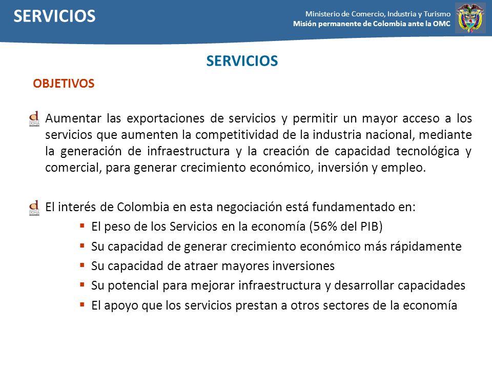 Ministerio de Comercio, Industria y Turismo Misión permanente de Colombia ante la OMC Aumentar las exportaciones de servicios y permitir un mayor acce
