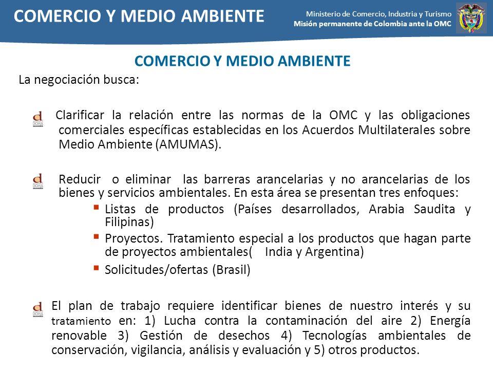 Ministerio de Comercio, Industria y Turismo Misión permanente de Colombia ante la OMC La negociación busca: Clarificar la relación entre las normas de