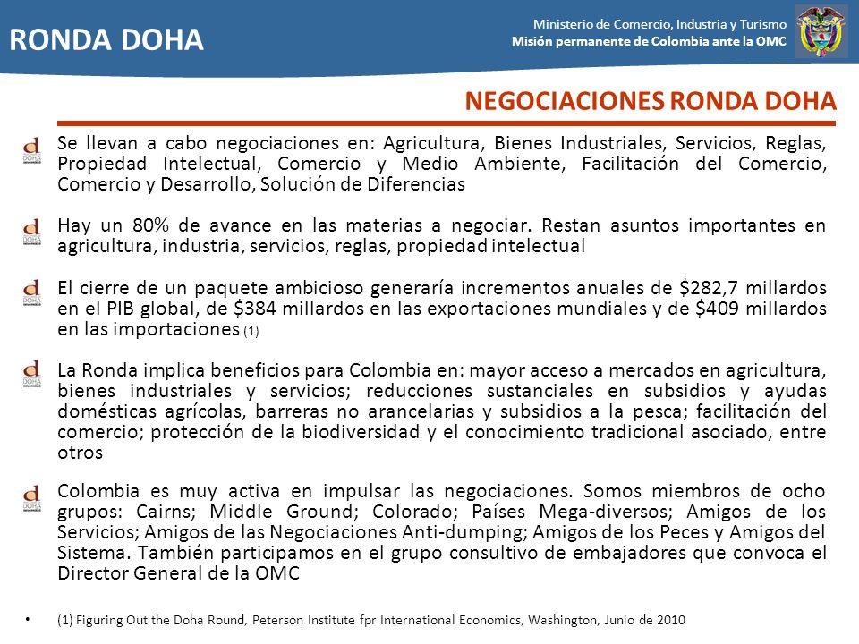 Ministerio de Comercio, Industria y Turismo Misión permanente de Colombia ante la OMC RONDA DOHA Se llevan a cabo negociaciones en: Agricultura, Biene