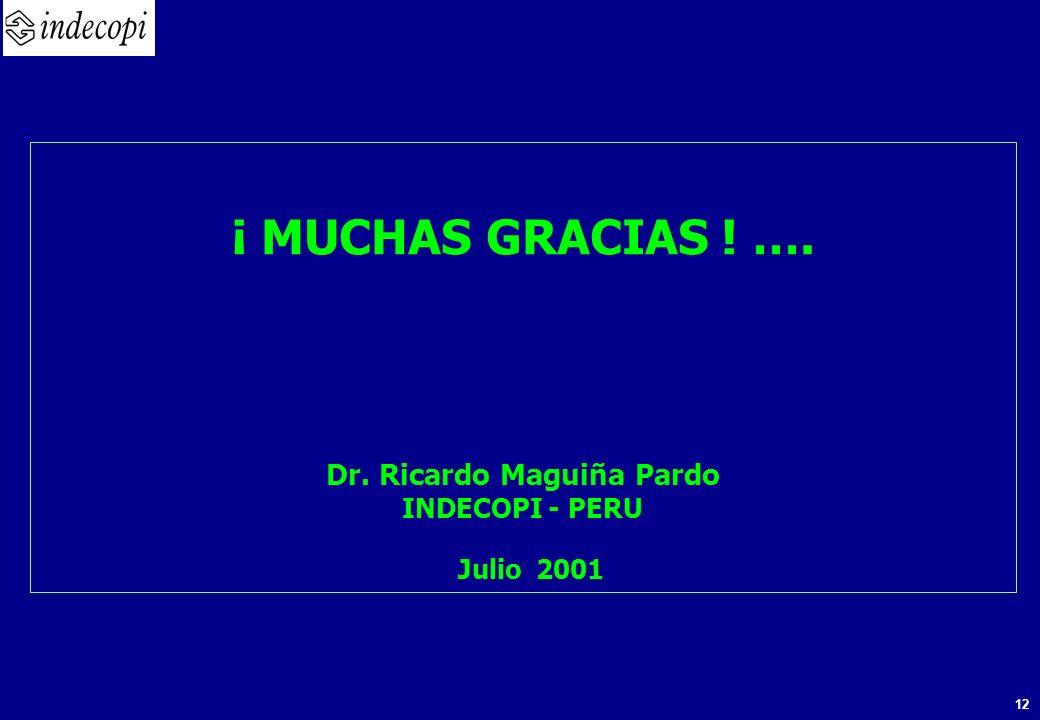 12 ¡ MUCHAS GRACIAS ! …. Dr. Ricardo Maguiña Pardo INDECOPI - PERU Julio 2001