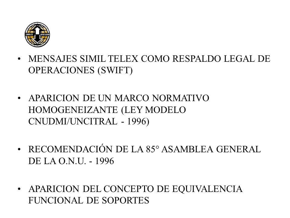 MENSAJES SIMIL TELEX COMO RESPALDO LEGAL DE OPERACIONES (SWIFT) APARICION DE UN MARCO NORMATIVO HOMOGENEIZANTE (LEY MODELO CNUDMI/UNCITRAL - 1996) REC