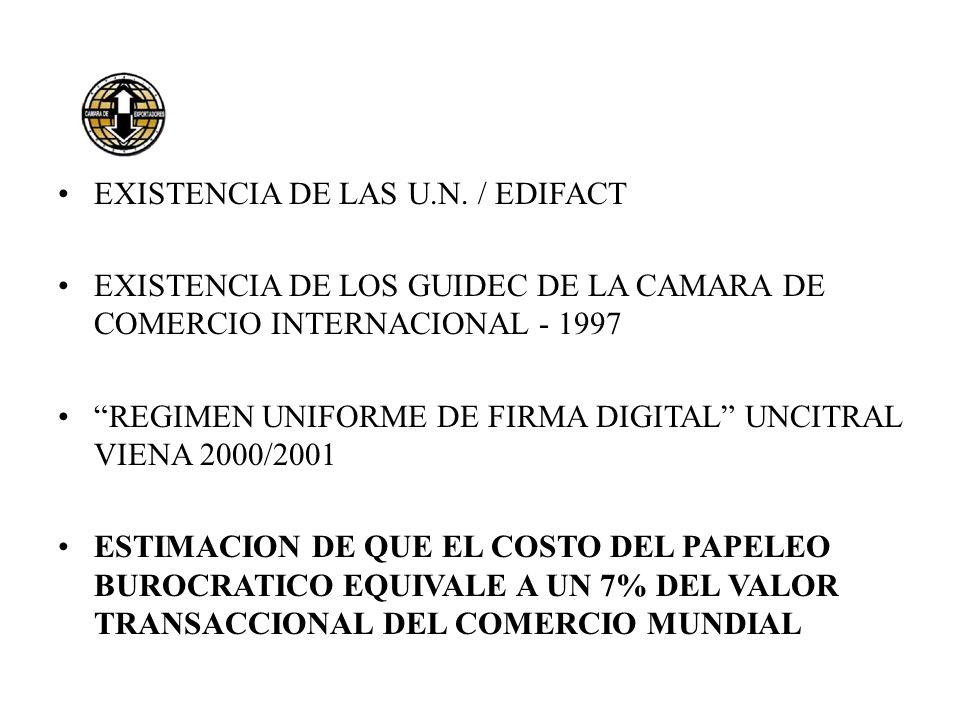 EXISTENCIA DE LAS U.N. / EDIFACT EXISTENCIA DE LOS GUIDEC DE LA CAMARA DE COMERCIO INTERNACIONAL - 1997 REGIMEN UNIFORME DE FIRMA DIGITAL UNCITRAL VIE