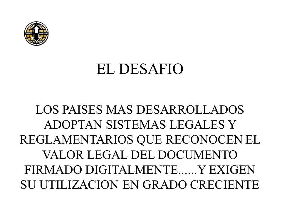 EL DESAFIO LOS PAISES MAS DESARROLLADOS ADOPTAN SISTEMAS LEGALES Y REGLAMENTARIOS QUE RECONOCEN EL VALOR LEGAL DEL DOCUMENTO FIRMADO DIGITALMENTE.....
