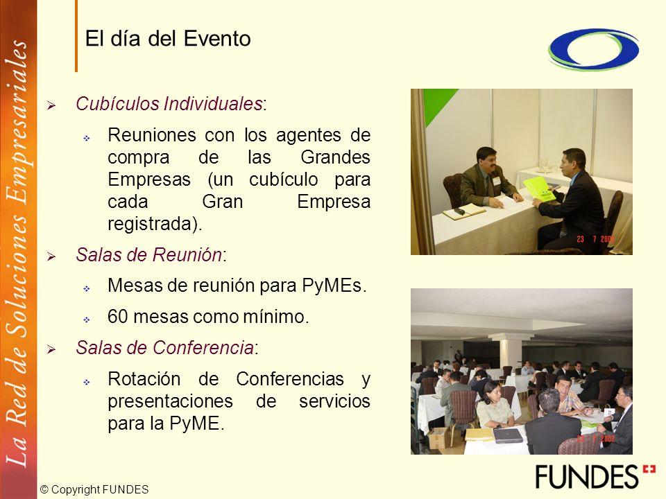 © Copyright FUNDES Cubículos Individuales: Reuniones con los agentes de compra de las Grandes Empresas (un cubículo para cada Gran Empresa registrada)