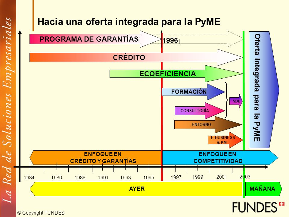 © Copyright FUNDES ENFOQUE EN CRÉDITO Y GARANTÍAS 198419861988199119931995 1997 19992001 FORMACIÓN E-BUSINESS & KM PROGRAMA DE GARANTÍAS 1996 CRÉDITO