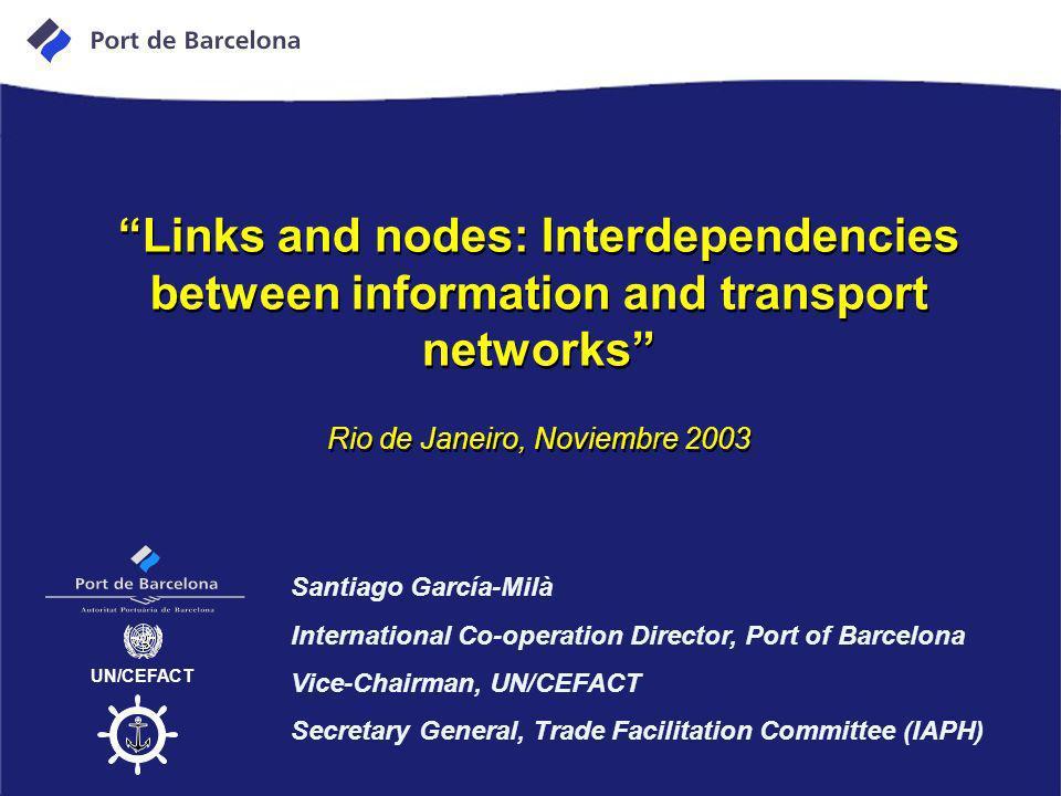 Links and nodes: Interdependencies between information and transport networks UN/CEFACT Santiago García-Milà International Co-operation Director, Port