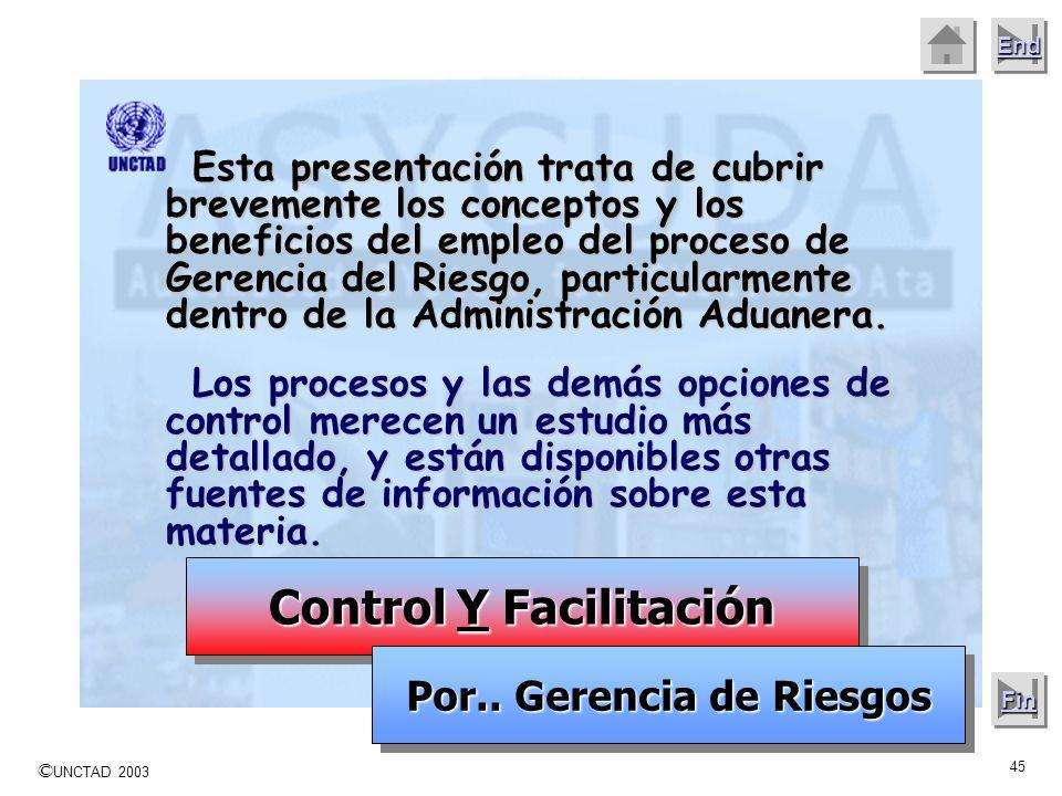 © UNCTAD 2003 44 End Next Beneficios económicos, mediante la facilitación del movimiento de mercancías, buques, aviones y personas – cuando los riesgo