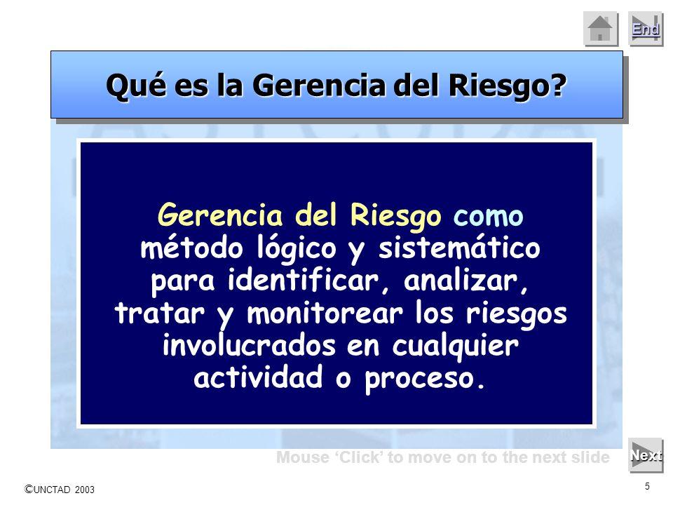 © UNCTAD 2003 4 End Mouse Click to move on to the next slide Next Qué es la Gerencia del Riesgo? Quién Gerencia el Riesgo? Cómo se Gerencia el Riesgo?