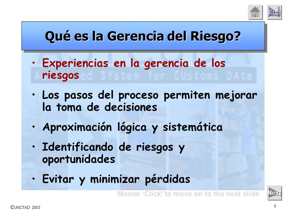 © UNCTAD 2003 5 End Mouse Click to move on to the next slide Next Gerencia del Riesgo como método lógico y sistemático para identificar, analizar, tra