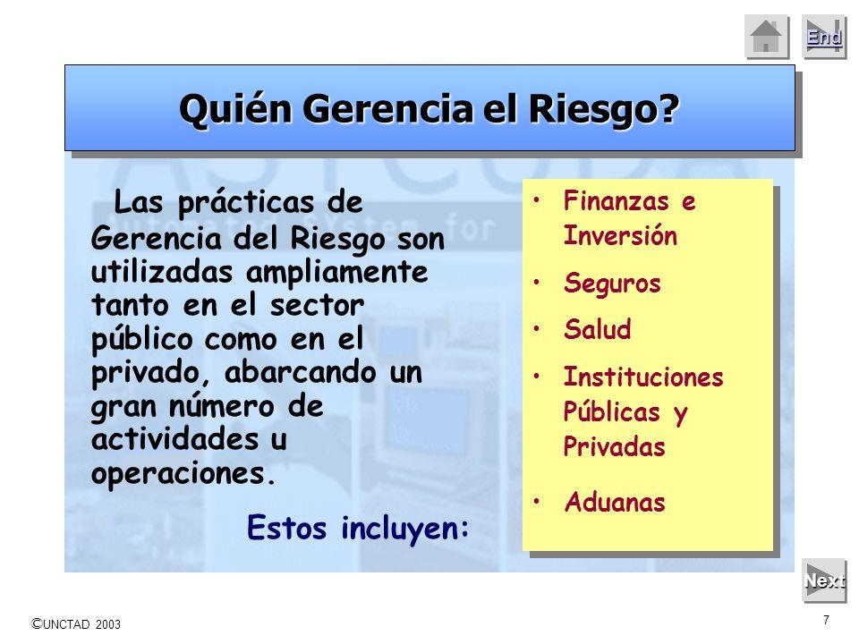 © UNCTAD 2003 6 End Mouse Click to move on to the next slide Next Experiencias en la gerencia de los riesgos Los pasos del proceso permiten mejorar la