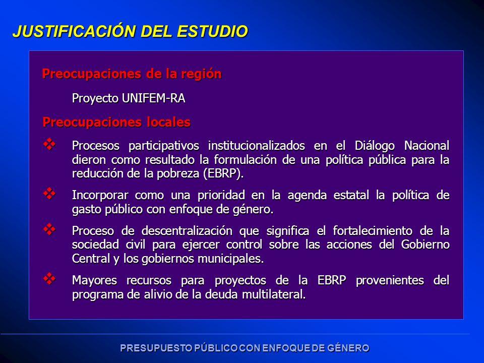 PRESUPUESTO PÚBLICO CON ENFOQUE DE GÉNERO Procesos participativos institucionalizados en el Diálogo Nacional dieron como resultado la formulación de una política pública para la reducción de la pobreza (EBRP).