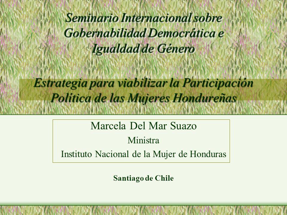 Estrategia para viabilizar la Participación Política de las Mujeres Hondureñas Marcela Del Mar Suazo Ministra Instituto Nacional de la Mujer de Hondur