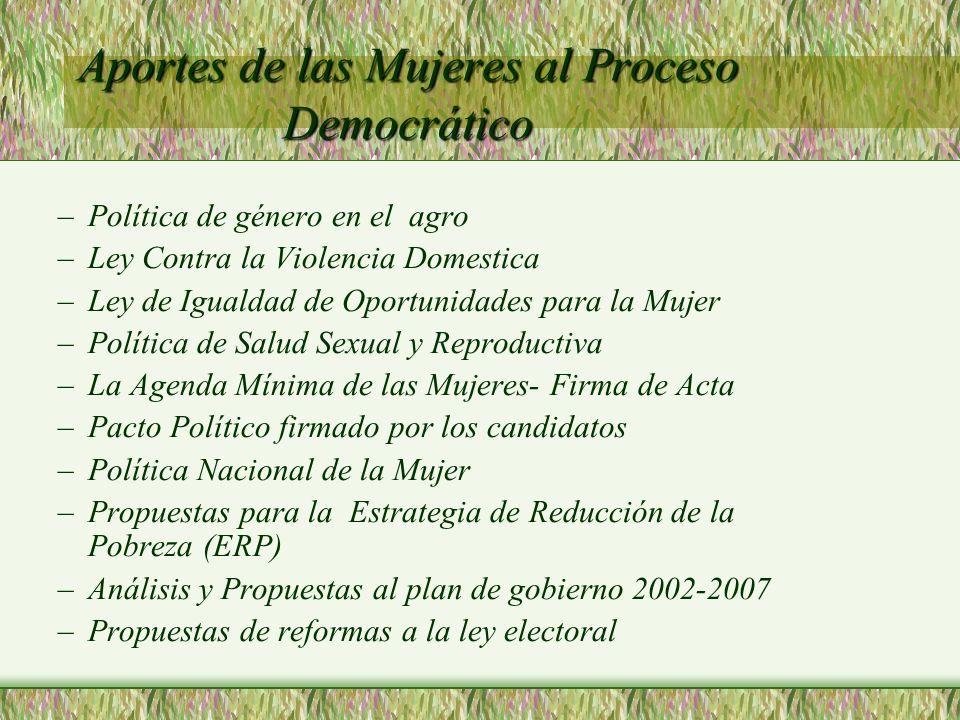 Aportes de las Mujeres al Proceso Democrático –Política de género en el agro –Ley Contra la Violencia Domestica –Ley de Igualdad de Oportunidades para