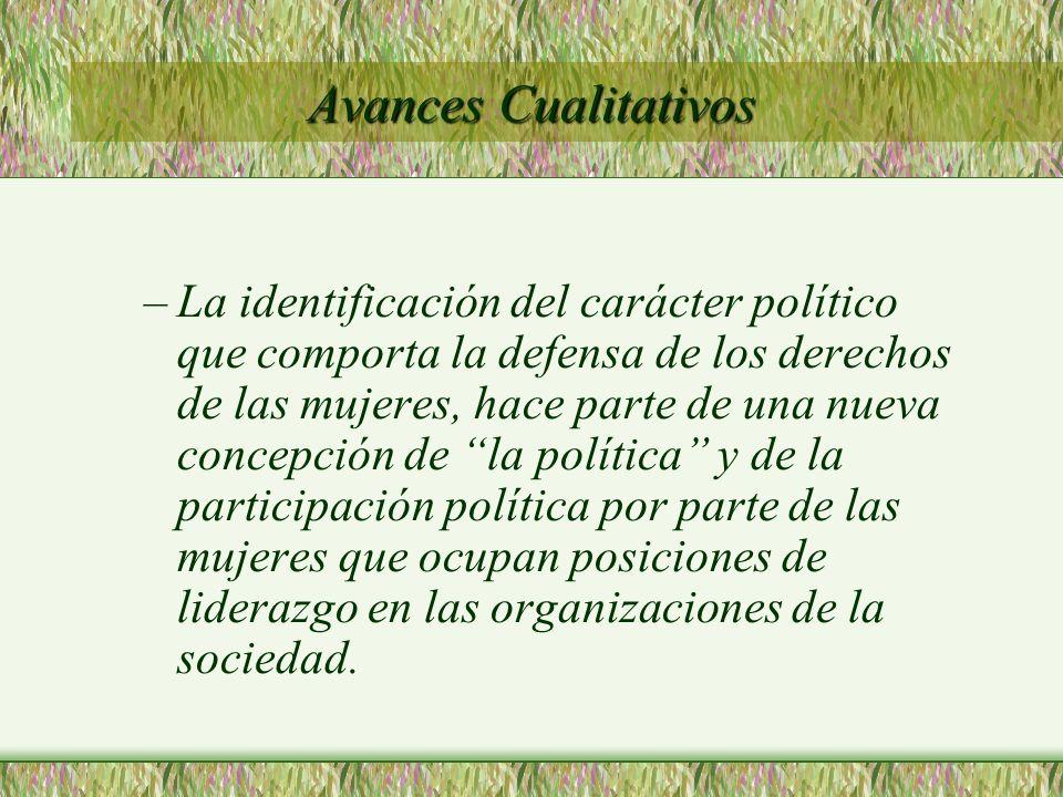 Avances Cualitativos –La identificación del carácter político que comporta la defensa de los derechos de las mujeres, hace parte de una nueva concepci