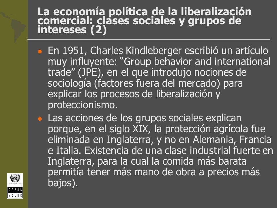 La economía política de la liberalización comercial: clases sociales y grupos de intereses (2) l En 1951, Charles Kindleberger escribió un artículo mu