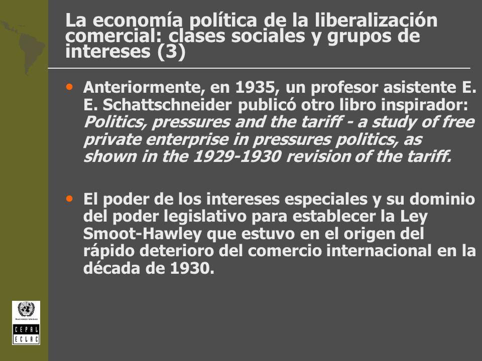 La economía política de la liberalización comercial: clases sociales y grupos de intereses (3) Anteriormente, en 1935, un profesor asistente E. E. Sch