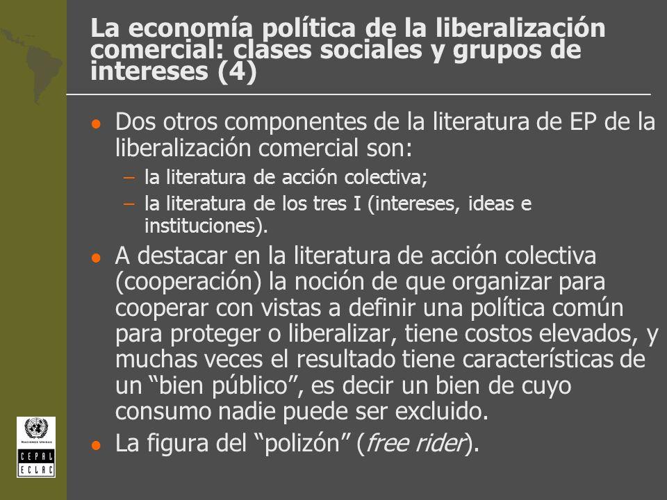 La economía política de la liberalización comercial: clases sociales y grupos de intereses (4) l Dos otros componentes de la literatura de EP de la li