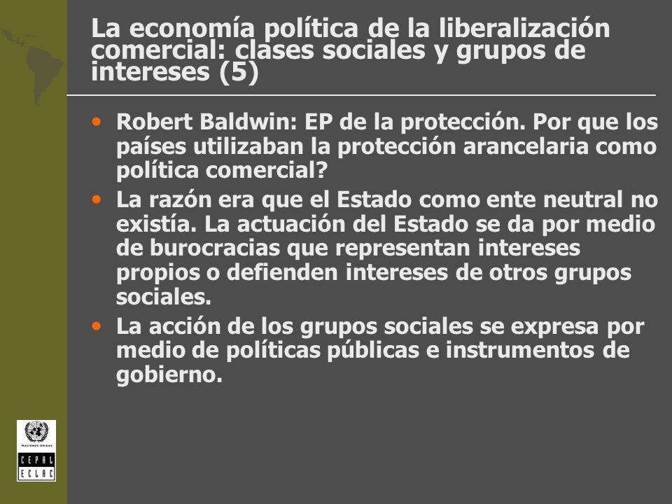 La economía política de la liberalización comercial: clases sociales y grupos de intereses (5) Robert Baldwin: EP de la protección. Por que los países