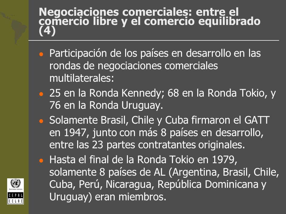 Negociaciones comerciales: entre el comercio libre y el comercio equilibrado (4) l Participación de los países en desarrollo en las rondas de negociac