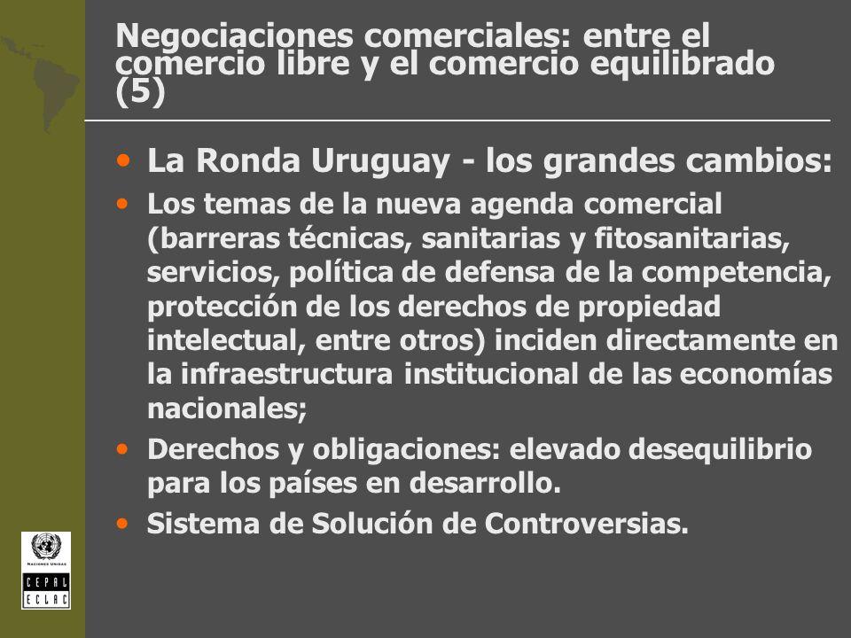 Negociaciones comerciales: entre el comercio libre y el comercio equilibrado (5) La Ronda Uruguay - los grandes cambios: Los temas de la nueva agenda