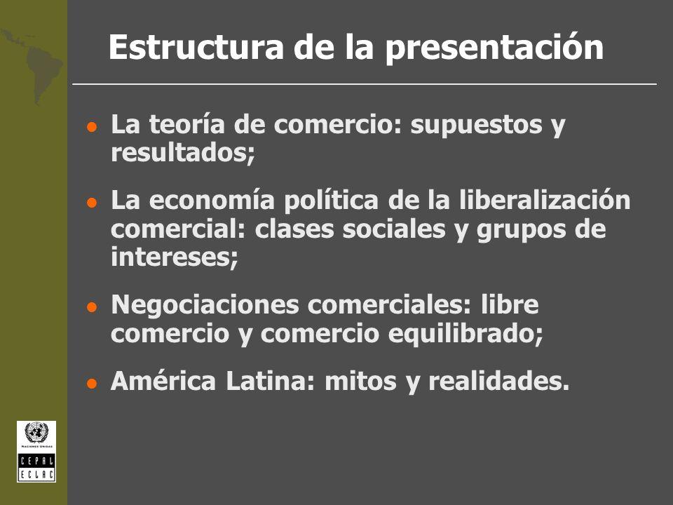 Estructura de la presentación l La teoría de comercio: supuestos y resultados; l La economía política de la liberalización comercial: clases sociales