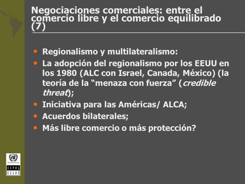 Negociaciones comerciales: entre el comercio libre y el comercio equilibrado (7) Regionalismo y multilateralismo: La adopción del regionalismo por los