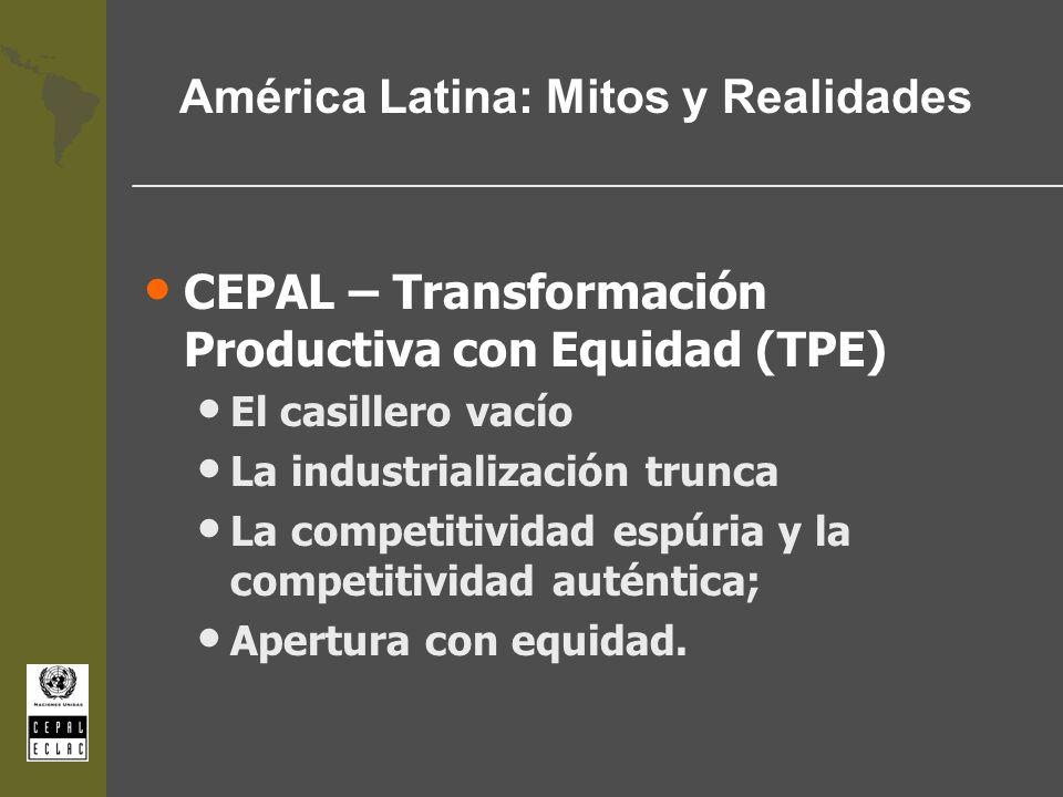 América Latina: Mitos y Realidades CEPAL – Transformación Productiva con Equidad (TPE) El casillero vacío La industrialización trunca La competitivida