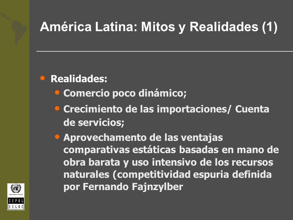 América Latina: Mitos y Realidades (1) Realidades: Comercio poco dinámico; Crecimiento de las importaciones/ Cuenta de servicios; Aprovechamento de la