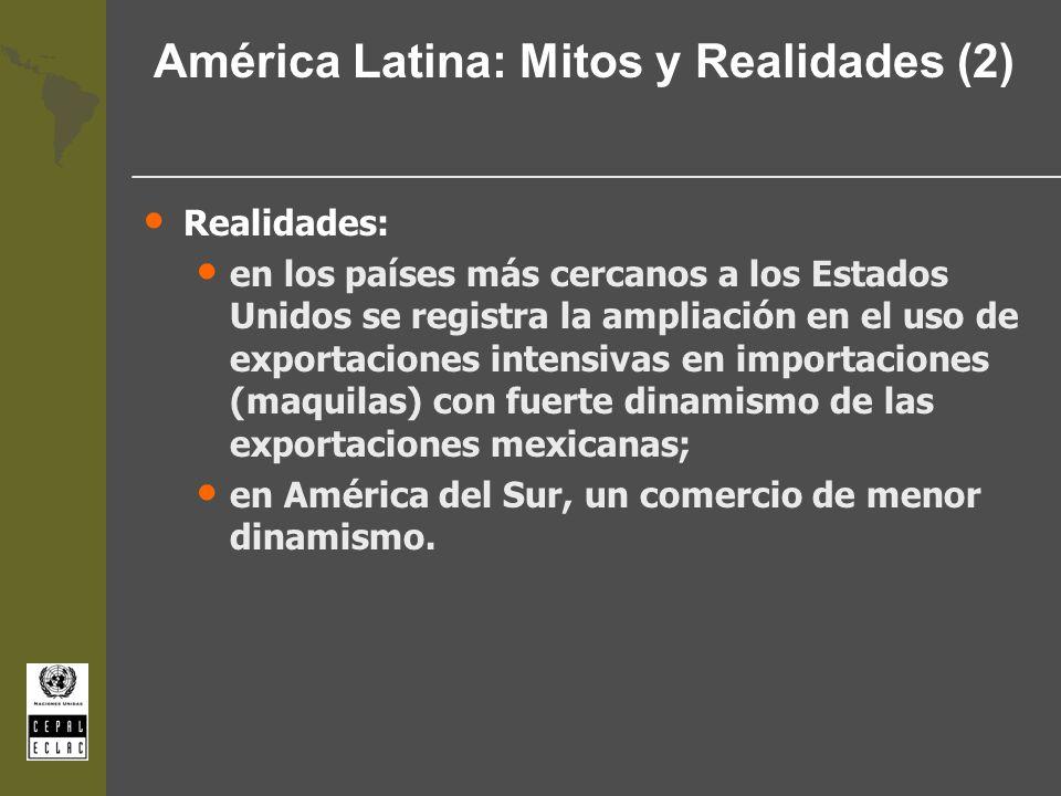 América Latina: Mitos y Realidades (2) Realidades: en los países más cercanos a los Estados Unidos se registra la ampliación en el uso de exportacione