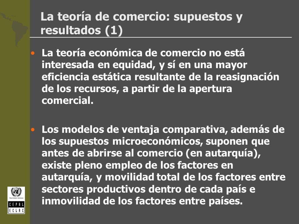 La teoría de comercio: supuestos y resultados (1) La teoría económica de comercio no está interesada en equidad, y sí en una mayor eficiencia estática