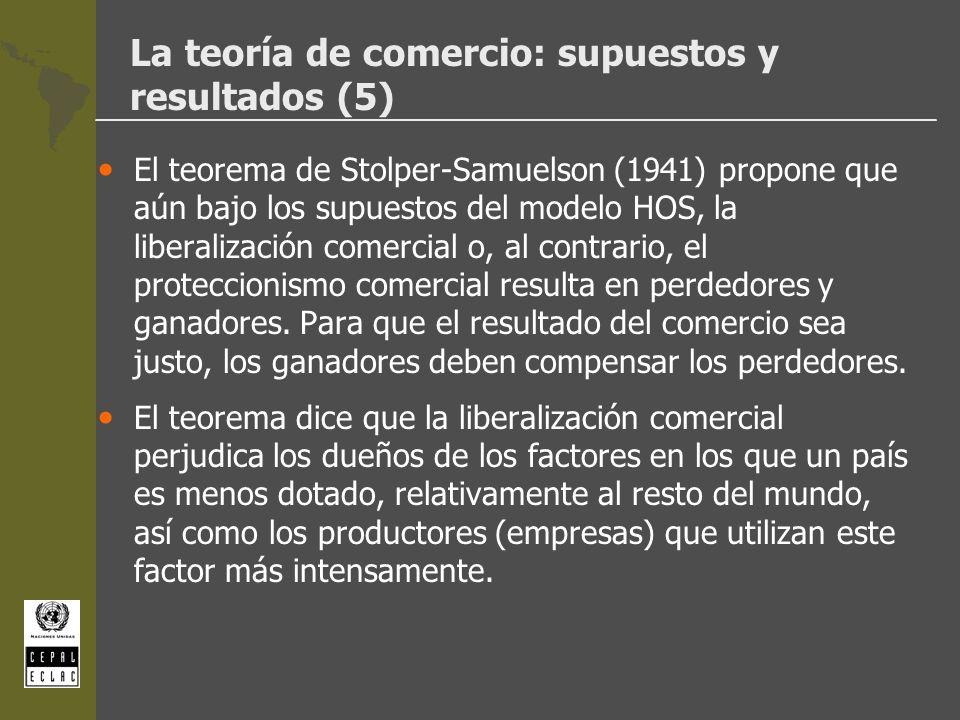 La teoría de comercio: supuestos y resultados (5) El teorema de Stolper-Samuelson (1941) propone que aún bajo los supuestos del modelo HOS, la liberal