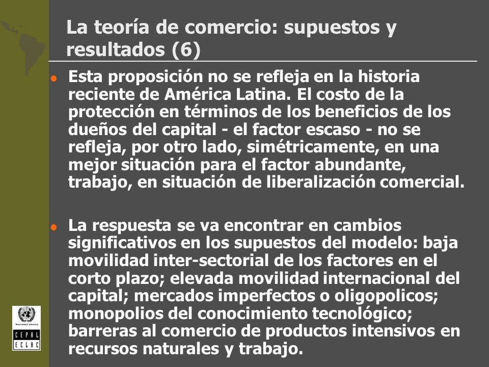 La teoría de comercio: supuestos y resultados (6) l Esta proposición no se refleja en la historia reciente de América Latina. El costo de la protecció