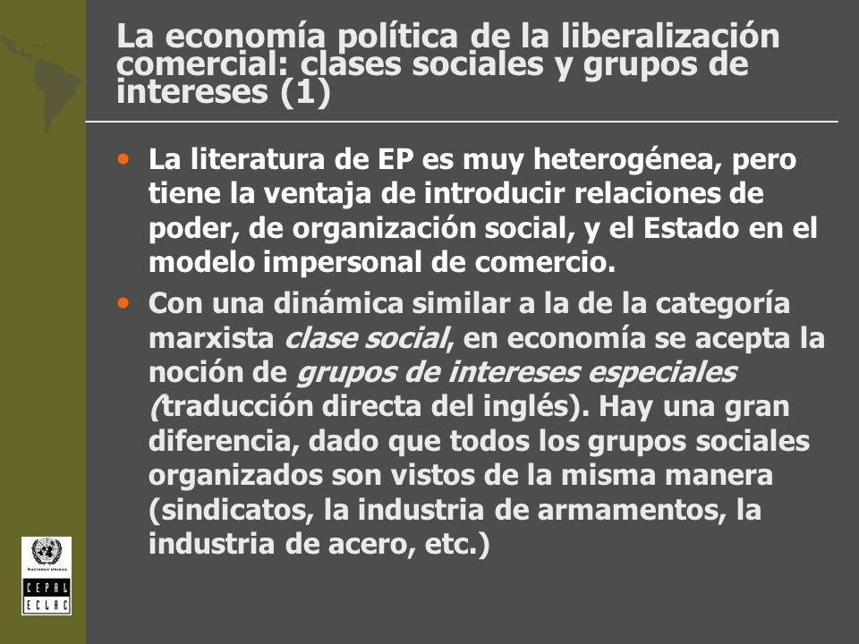 La economía política de la liberalización comercial: clases sociales y grupos de intereses (2) l En 1951, Charles Kindleberger escribió un artículo muy influyente: Group behavior and international trade (JPE), en el que introdujo nociones de sociología (factores fuera del mercado) para explicar los procesos de liberalización y proteccionismo.