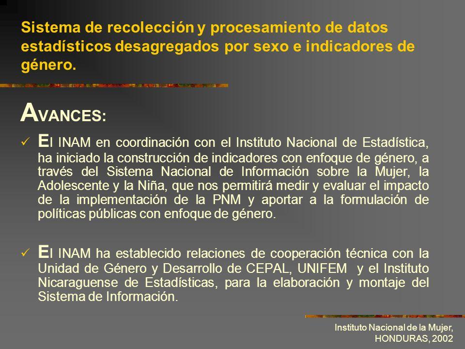 Instituto Nacional de la Mujer, HONDURAS, 2002 Sistema de recolección y procesamiento de datos estadísticos desagregados por sexo e indicadores de gén