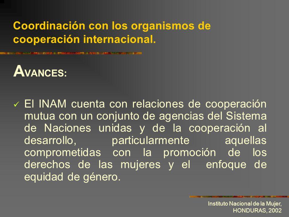 Instituto Nacional de la Mujer, HONDURAS, 2002 Coordinación con los organismos de cooperación internacional. A VANCES: El INAM cuenta con relaciones d