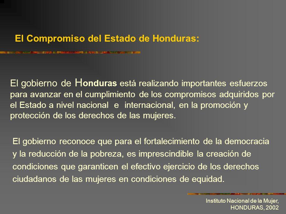 Instituto Nacional de la Mujer, HONDURAS, 2002 Avanzar en la implementación de la Plataforma de Acción Mundial y el Programa de Acción Regional, derivados de la Cuarta Conferencia Mundial sobre la Mujer.