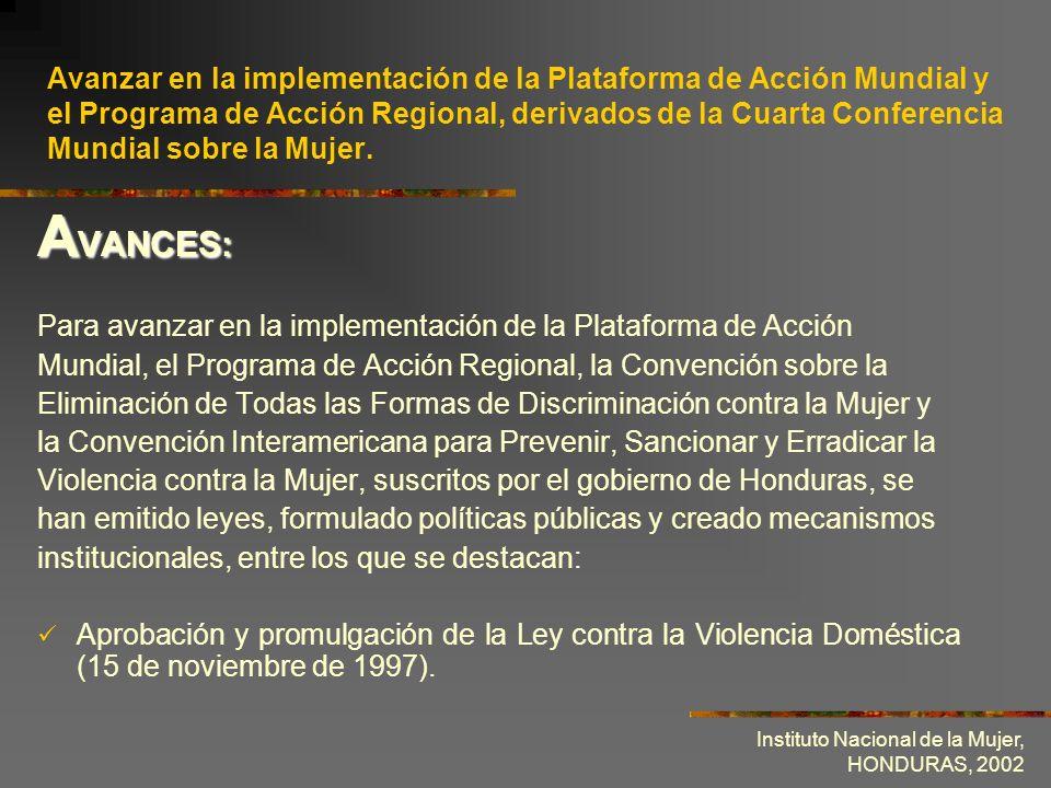 Instituto Nacional de la Mujer, HONDURAS, 2002 Avanzar en la implementación de la Plataforma de Acción Mundial y el Programa de Acción Regional, deriv