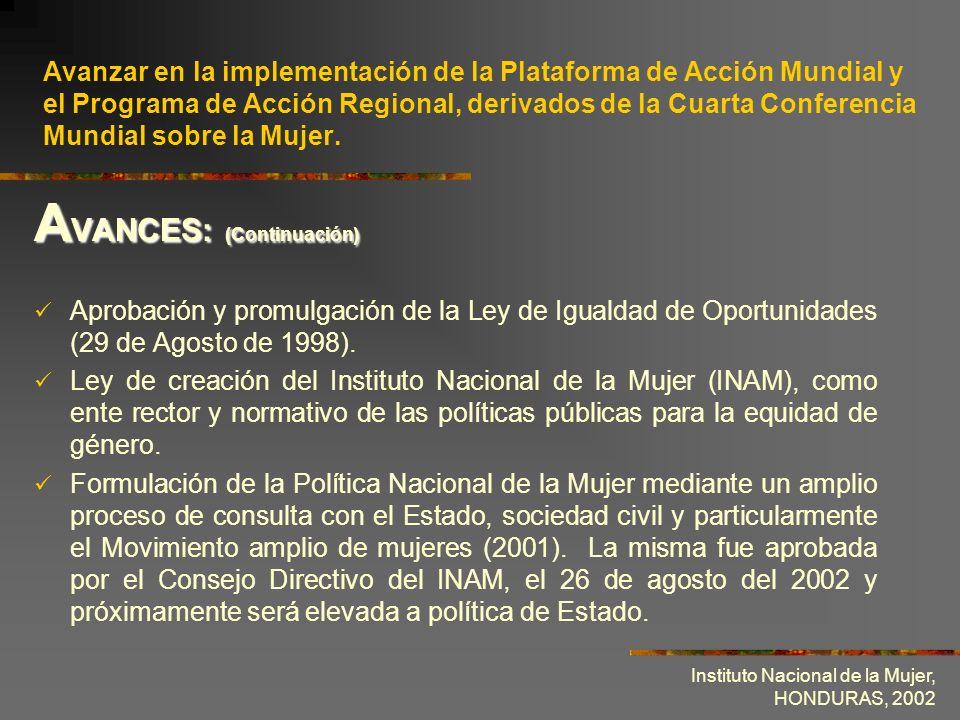 Instituto Nacional de la Mujer, HONDURAS, 2002 Firma y Ratificación del Protocolo Facultativo de la CEDAW.