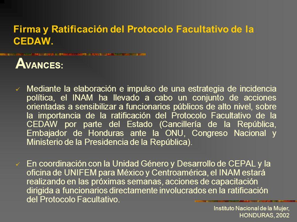Instituto Nacional de la Mujer, HONDURAS, 2002 Importancia de la equidad de género en la actual gestión gubernamental.