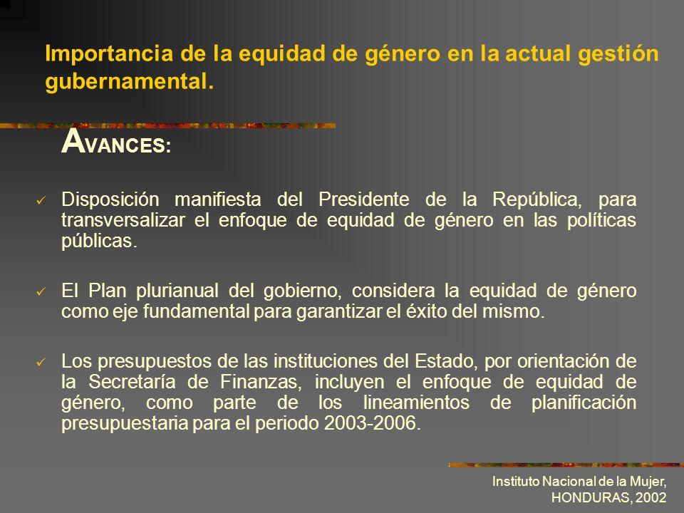 Instituto Nacional de la Mujer, HONDURAS, 2002 Importancia de la equidad de género en la actual gestión gubernamental. A VANCES: Disposición manifiest
