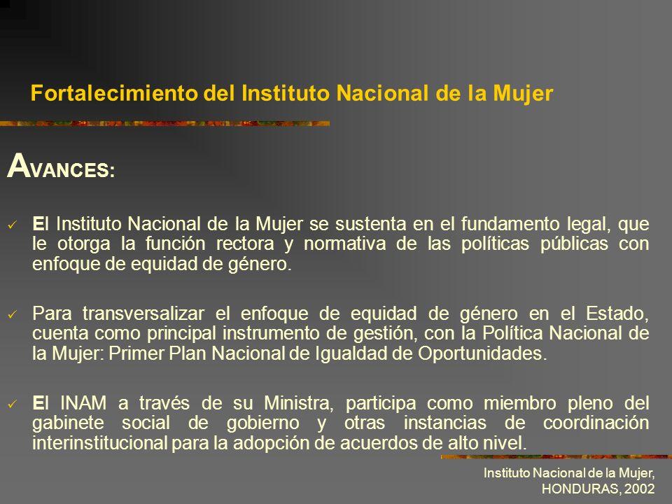Instituto Nacional de la Mujer, HONDURAS, 2002 Fortalecimiento del Instituto Nacional de la Mujer A VANCES: El Instituto Nacional de la Mujer se suste